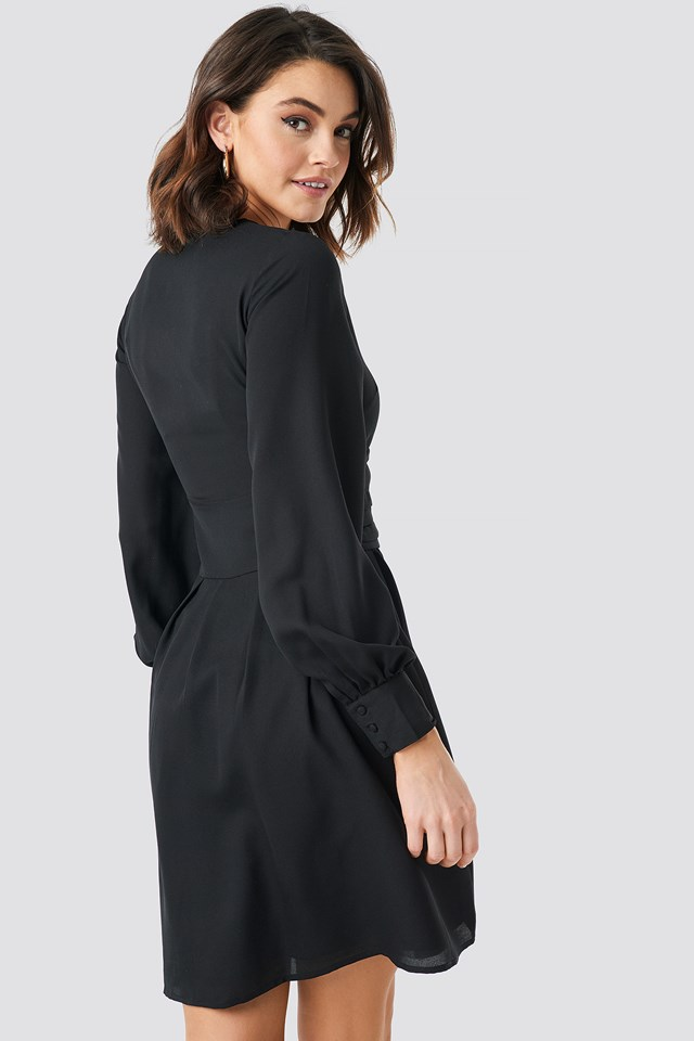 Draped Waist Button Up Dress Black