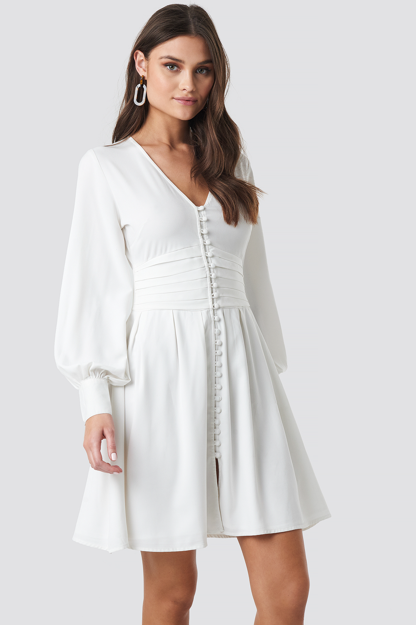 Draped Waist Button Up Dress NA-KD.COM