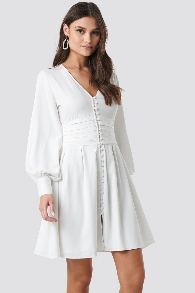 Draped Waist Button Up Dress White