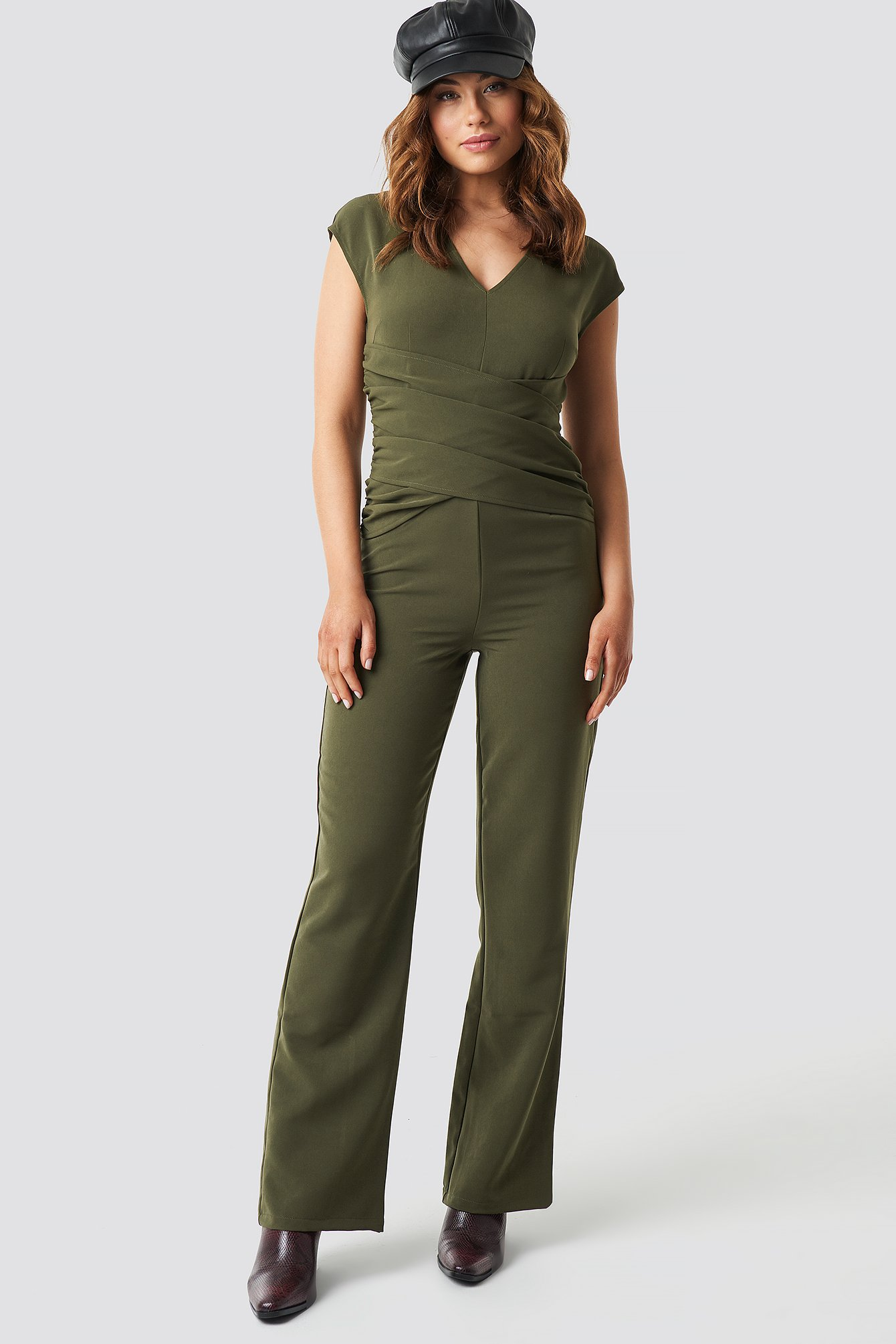 Draped Waist V-Neck Jumpsuit NA-KD.COM