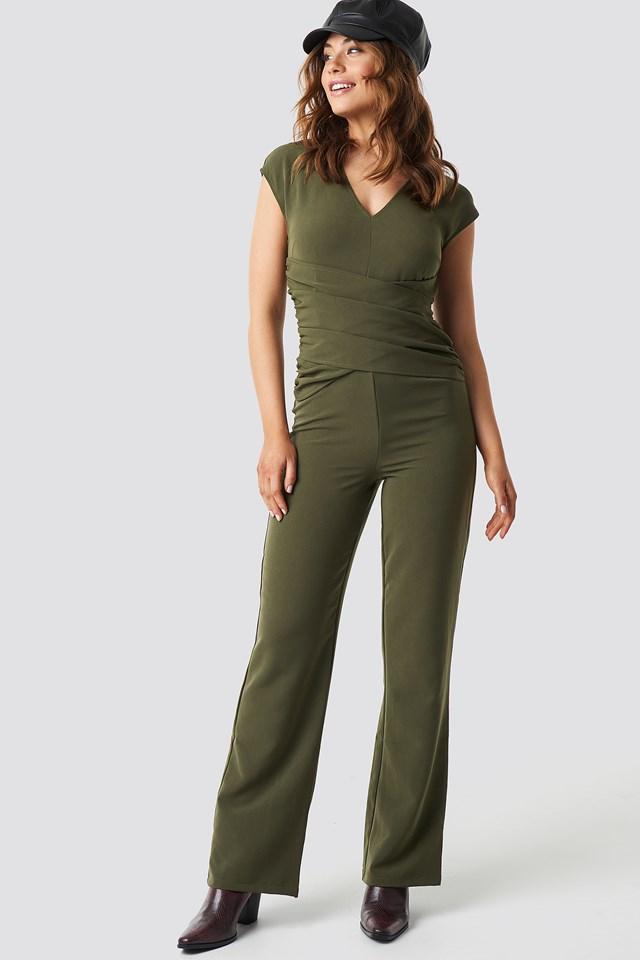 Draped Waist V-Neck Jumpsuit Khaki Green