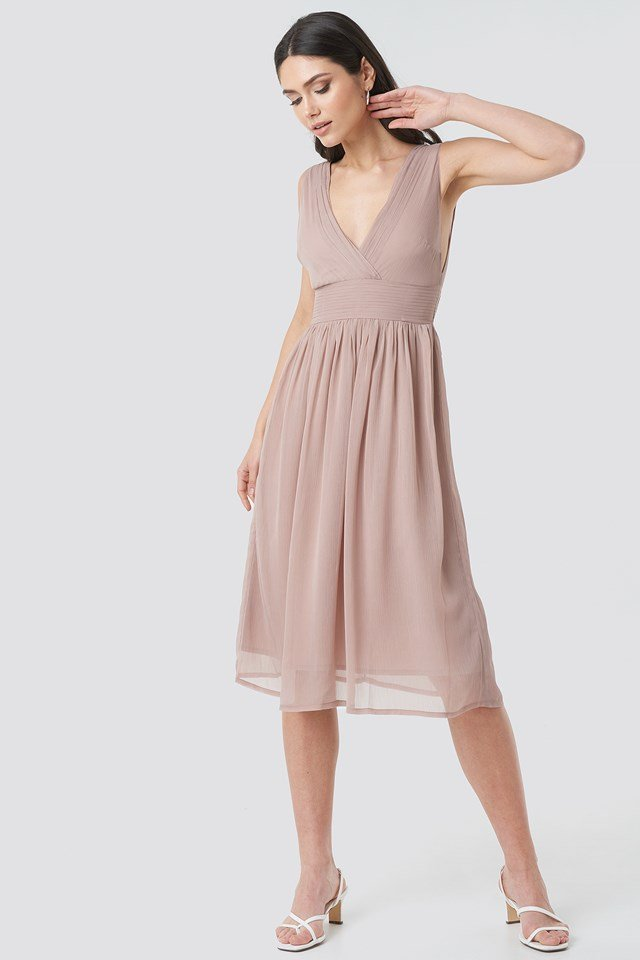 Draped Waist V-Neck Chiffon Dress Powder Pink