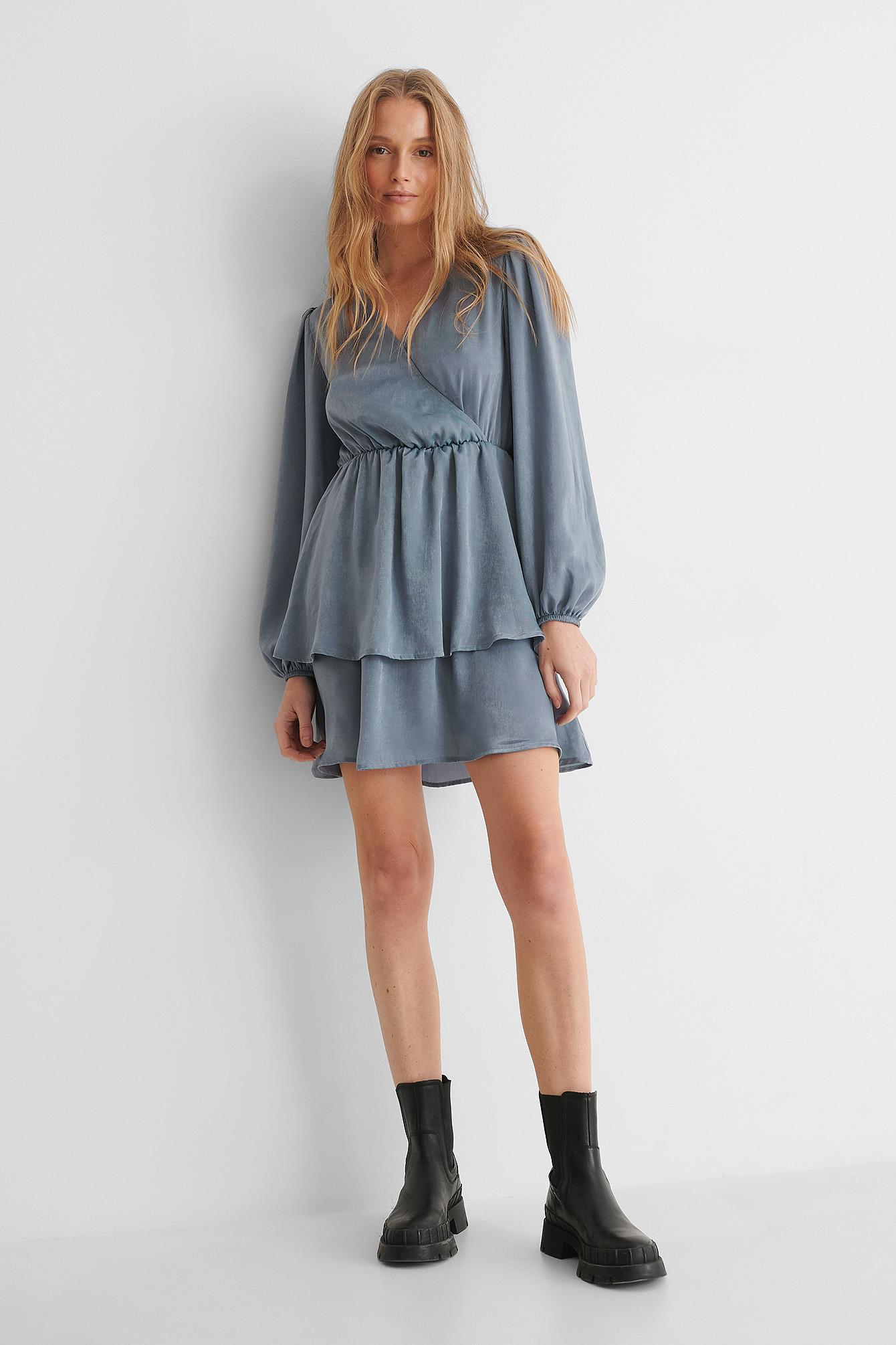 na-kd party -  Kleid Mit V-Ausschnitt - Blue