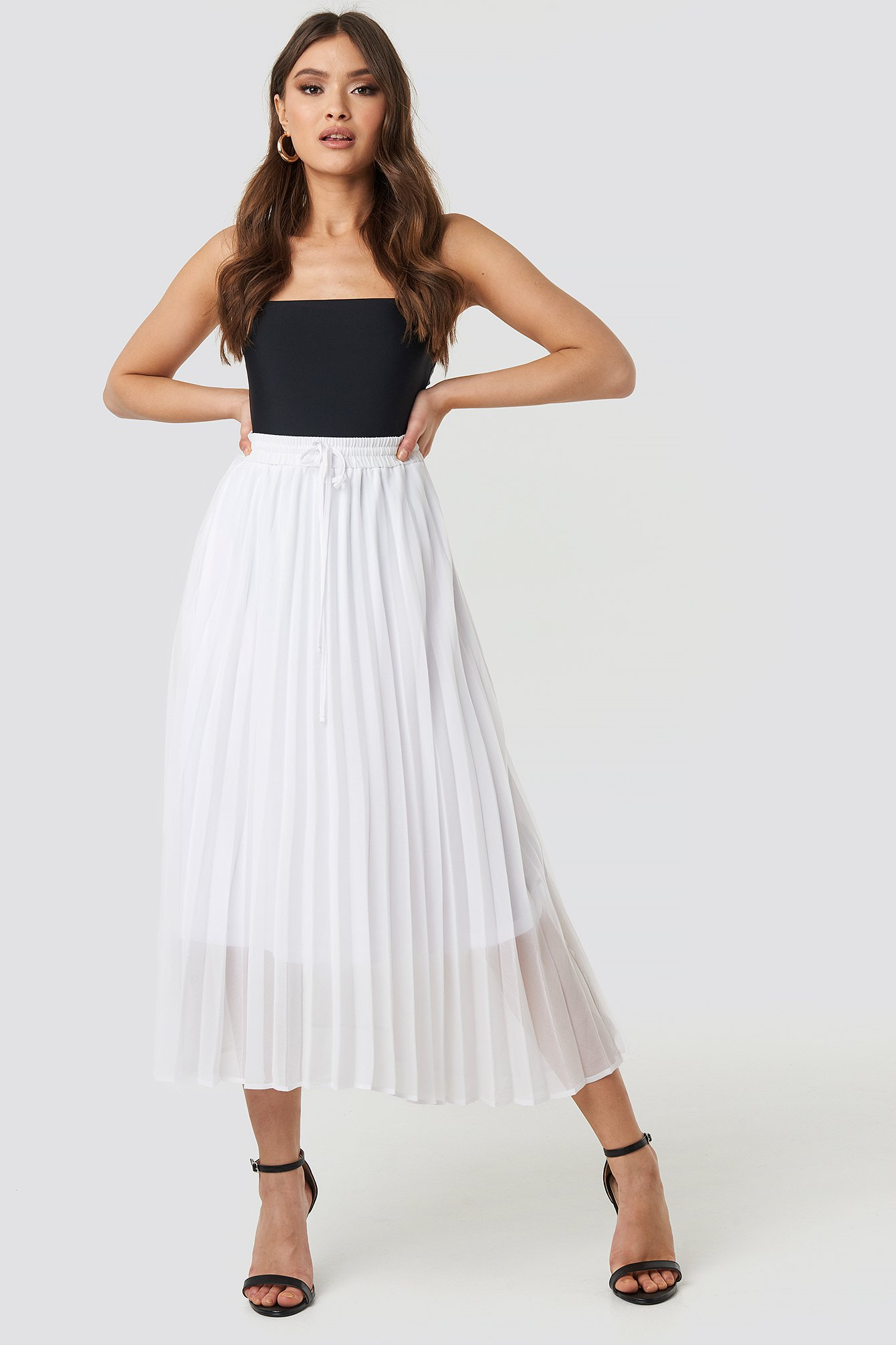 White Drawcord Pleated Midi Skirt