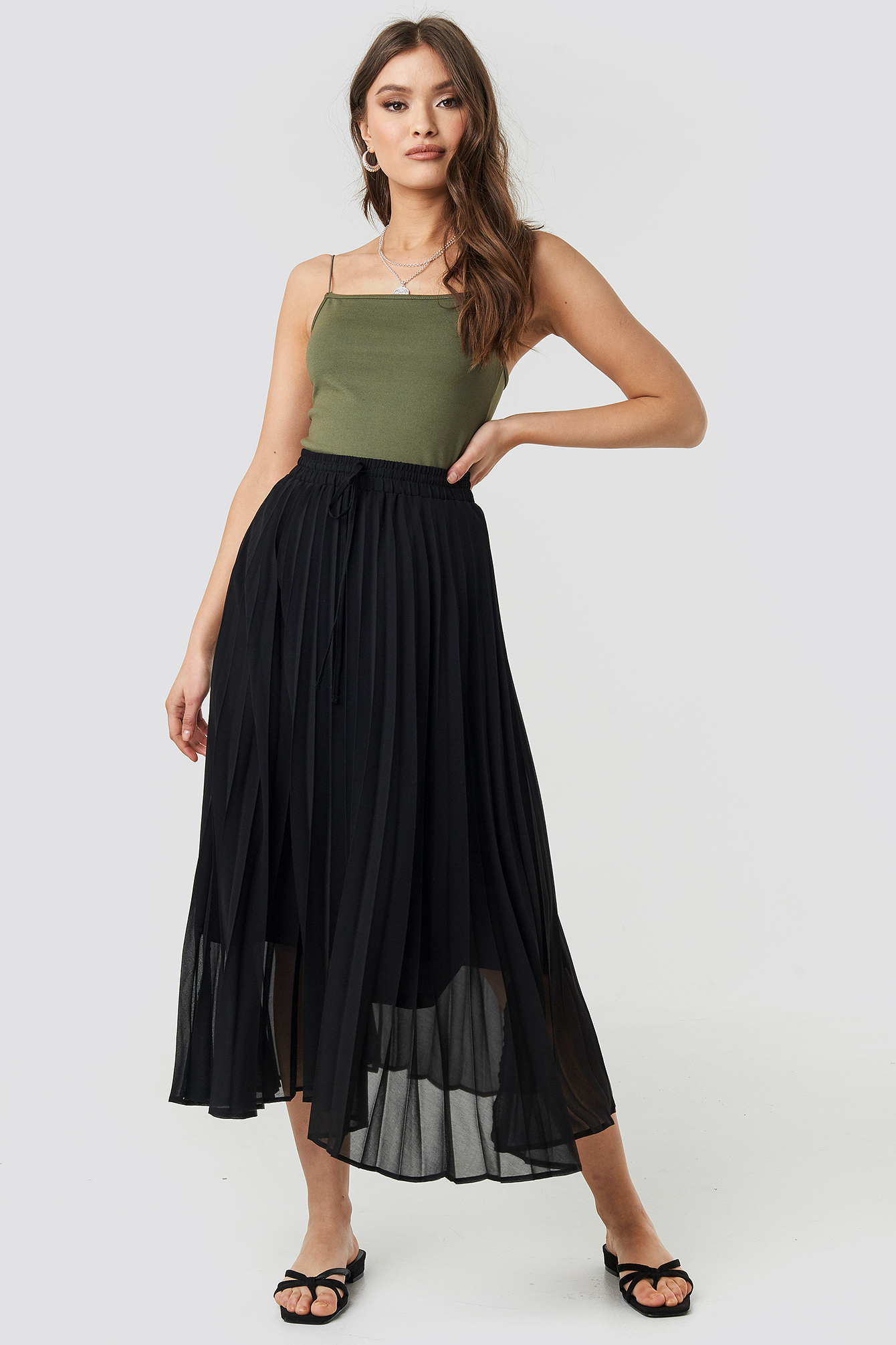 Drawcord Pleated Midi Skirt NA-KD.COM