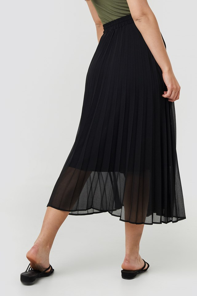 Drawcord Pleated Midi Skirt Black