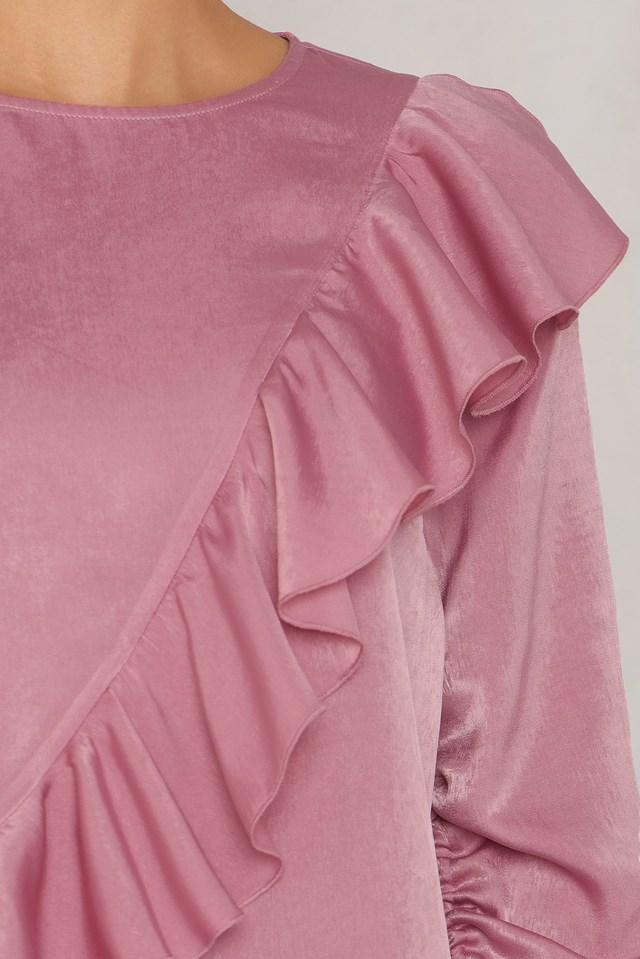 Drawstring Frill Top Dusty Pink