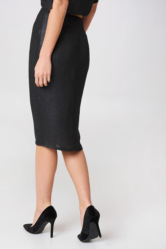 Drawstring Asymmetric Midi Skirt Dark Silver