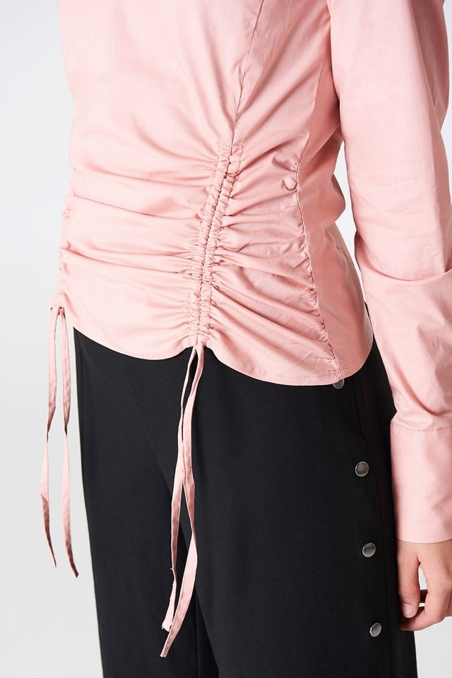 Drawstring Asymmetric Shirt Light Dusty Pink