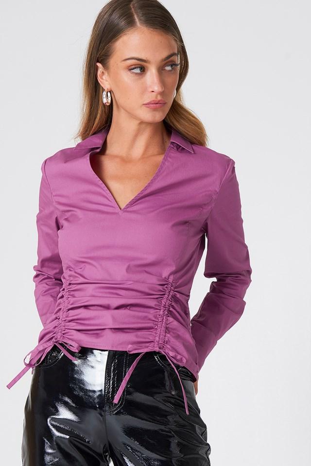 Asymetryczna koszula ze sznurkiem Purple Rose