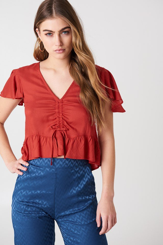 Drawstring Bell Sleeve Blouse Red