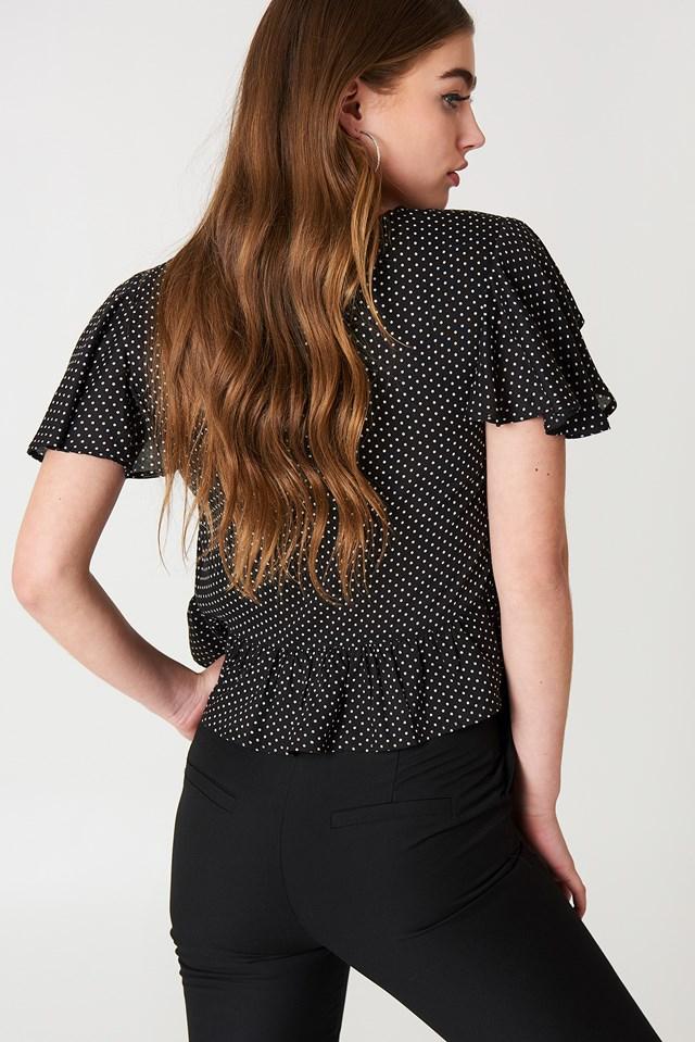 Drawstring Bell Sleeve Blouse Black/White dots
