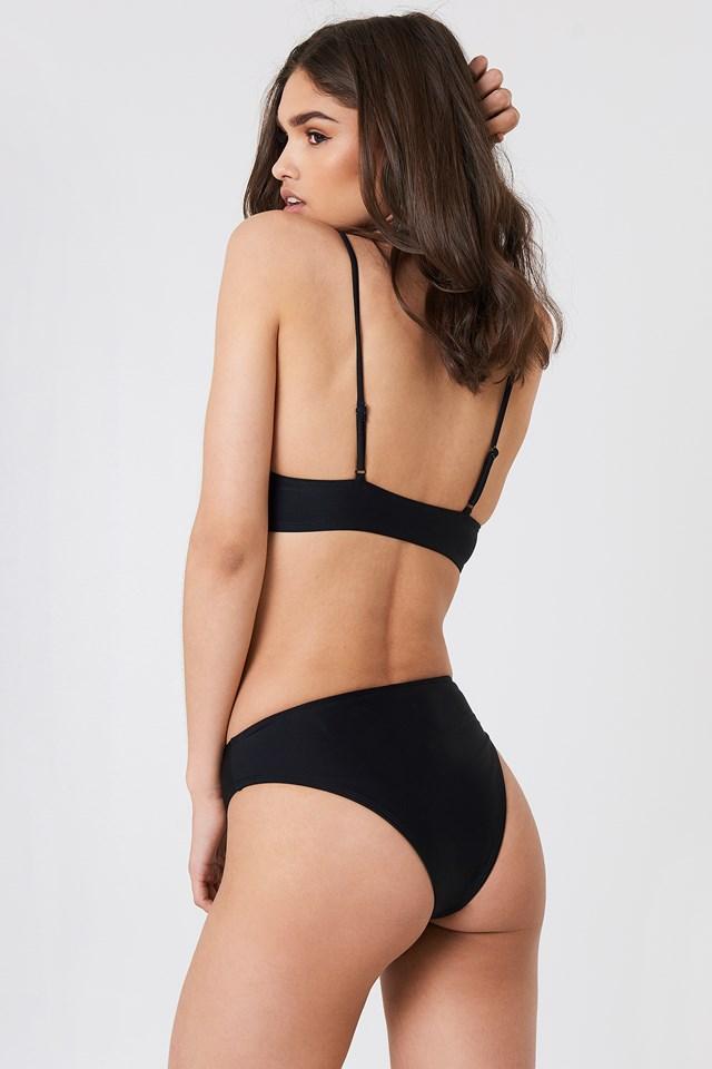 Drawstring Bikini Top Black