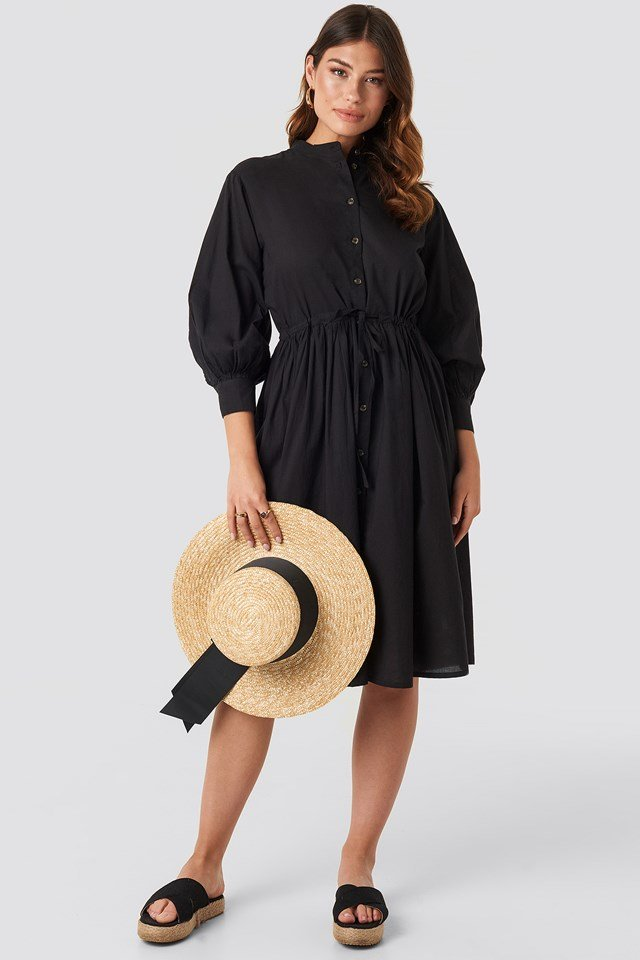 Drawstring Buttoned Shirt Dress Black