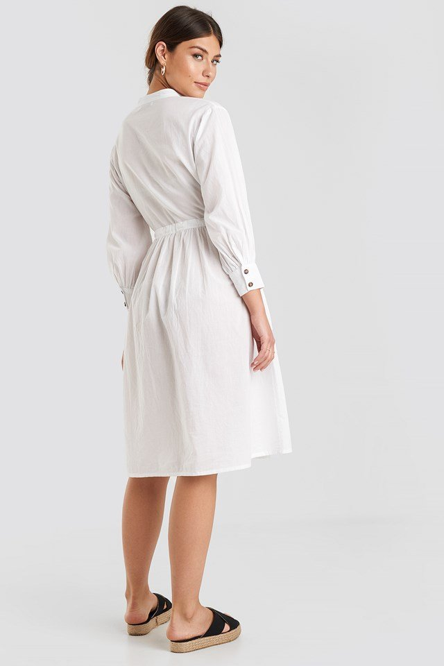 Drawstring Buttoned Shirt Dress White
