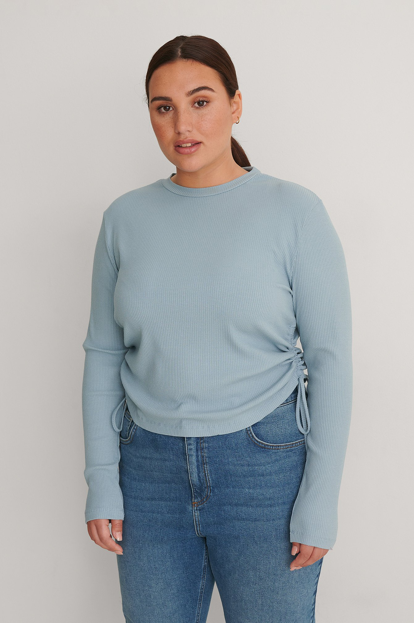 Dusty Blue Drawstring Detail Rib Top