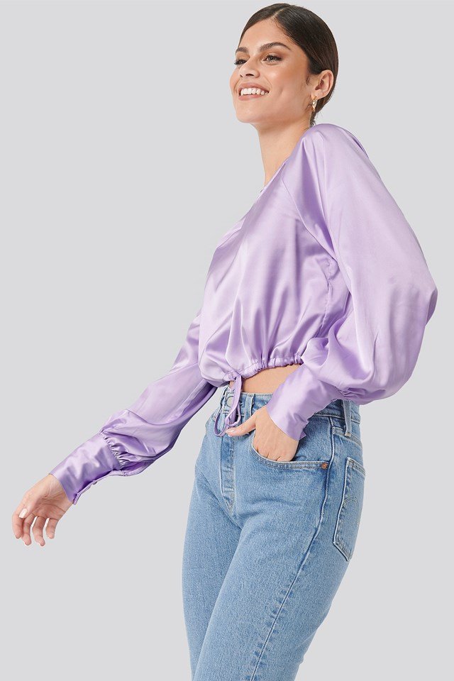 Drawstring Detail Satin Blouse Purple