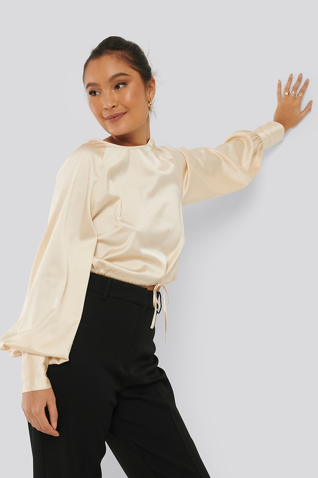 Drawstring Detail Satin Blouse Light Yellow