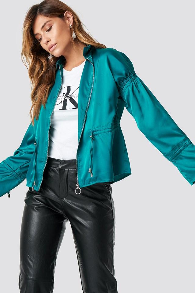 Drawstring Detailed Jacket Emerald Green
