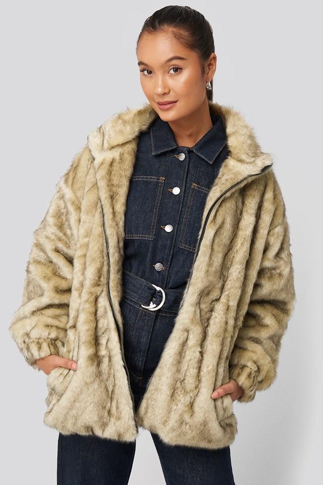 Drawstring Faux Fur Jacket Brown