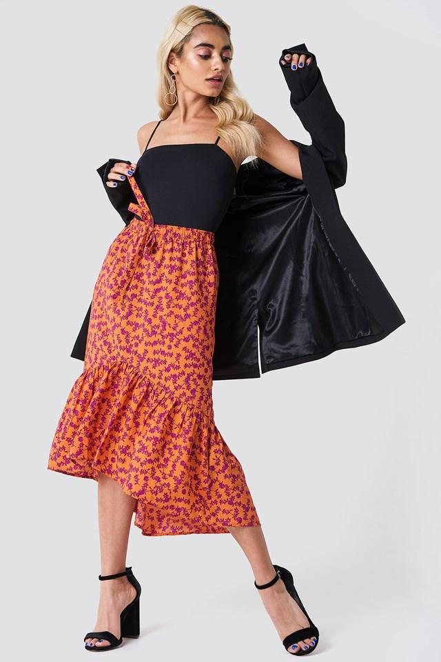 Drawstring Flounce Midi Skirt Orange Blossom Pattern