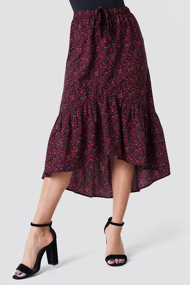 Drawstring Flounce Midi Skirt Red/Yellow Leaves