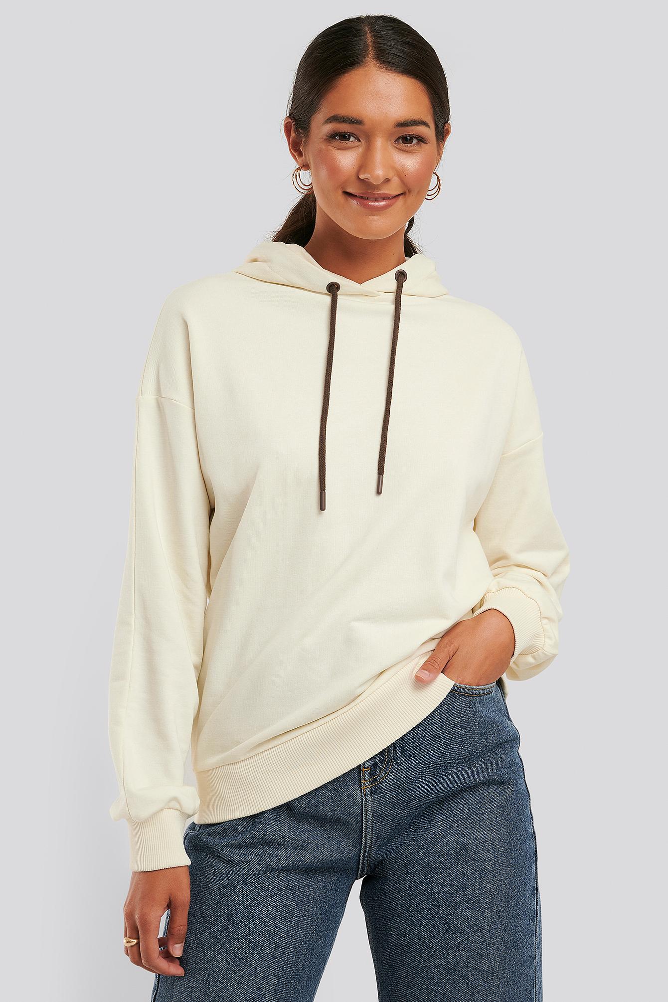 NA-KD Basic Kapuzenpulli Mit Kordelzug - White | Bekleidung > Pullover > Kapuzenpullover | NA-KD Basic