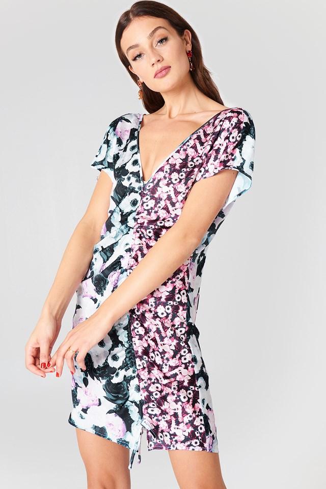 Drawstring Mini Dress Black/Pink Flower Print