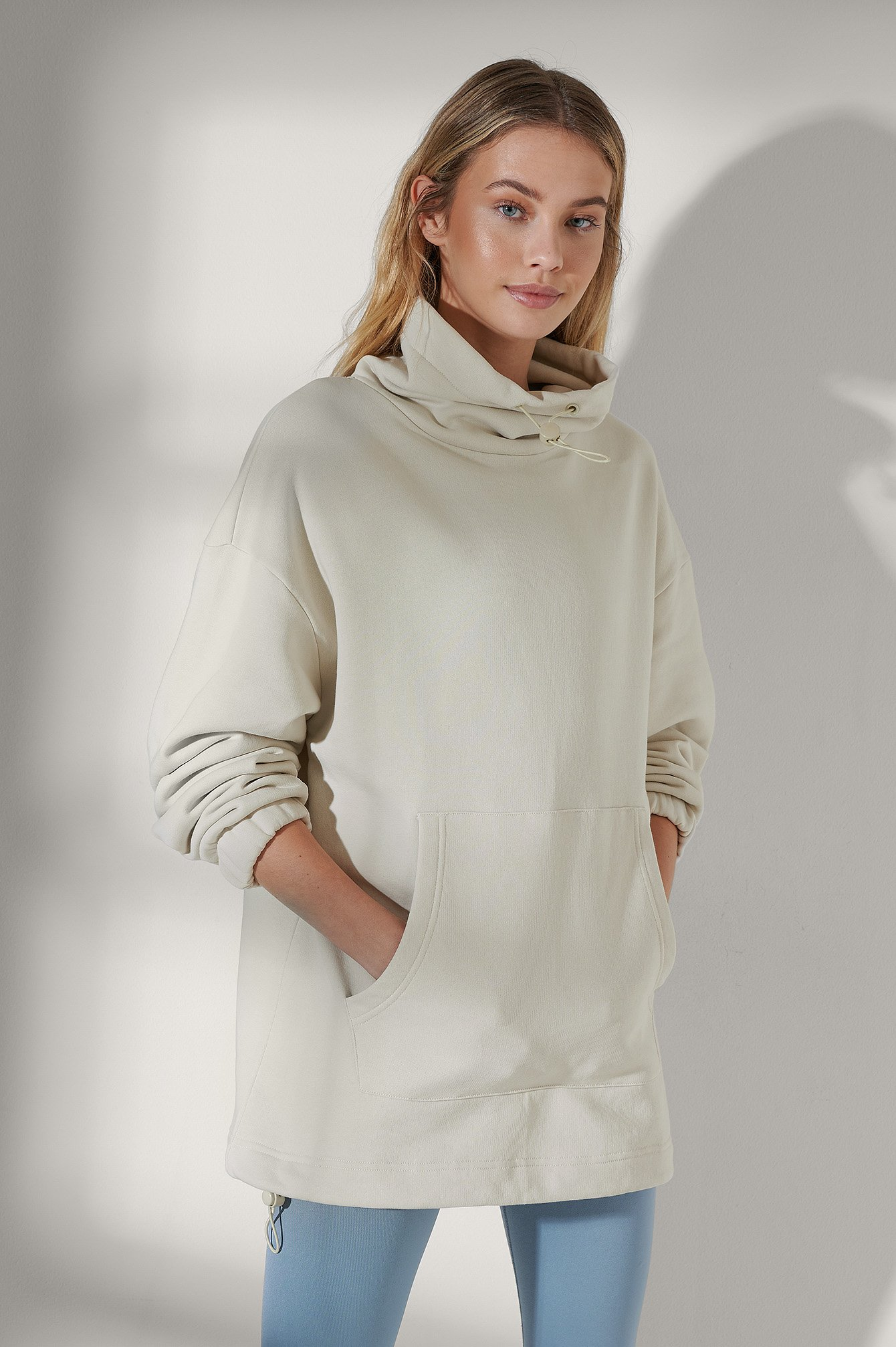 Light Beige Organic Drawstring Neck Sweatshirt