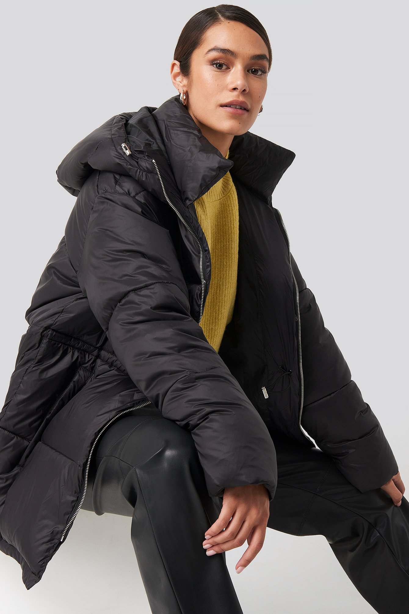 na-kd trend -  Drawstring Padded Jacket - Black