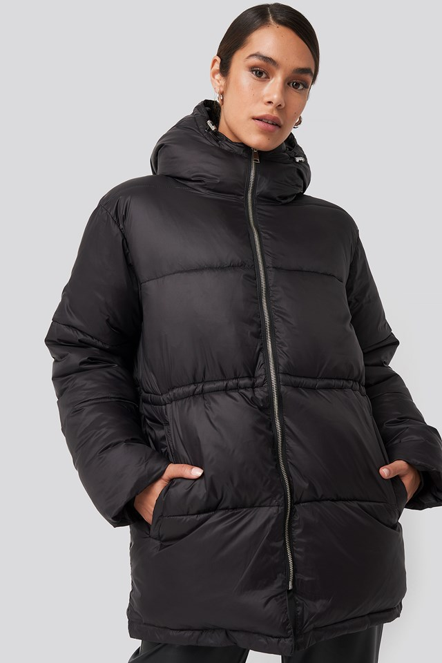 Drawstring Padded Jacket Black