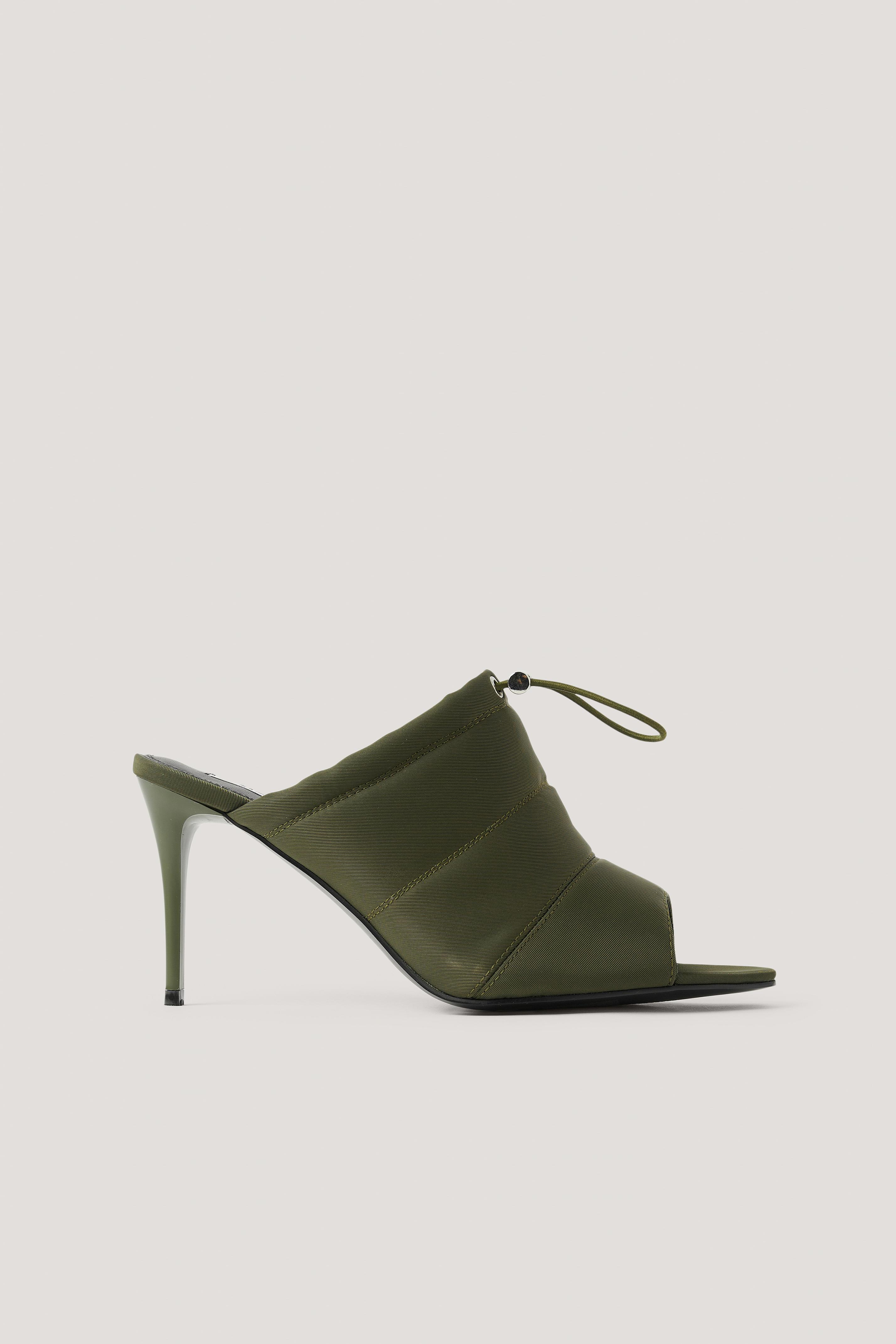 NA-KD Shoes Spetsiga Högklackade Skor Med Öppen Tå Och Dragsko - Green
