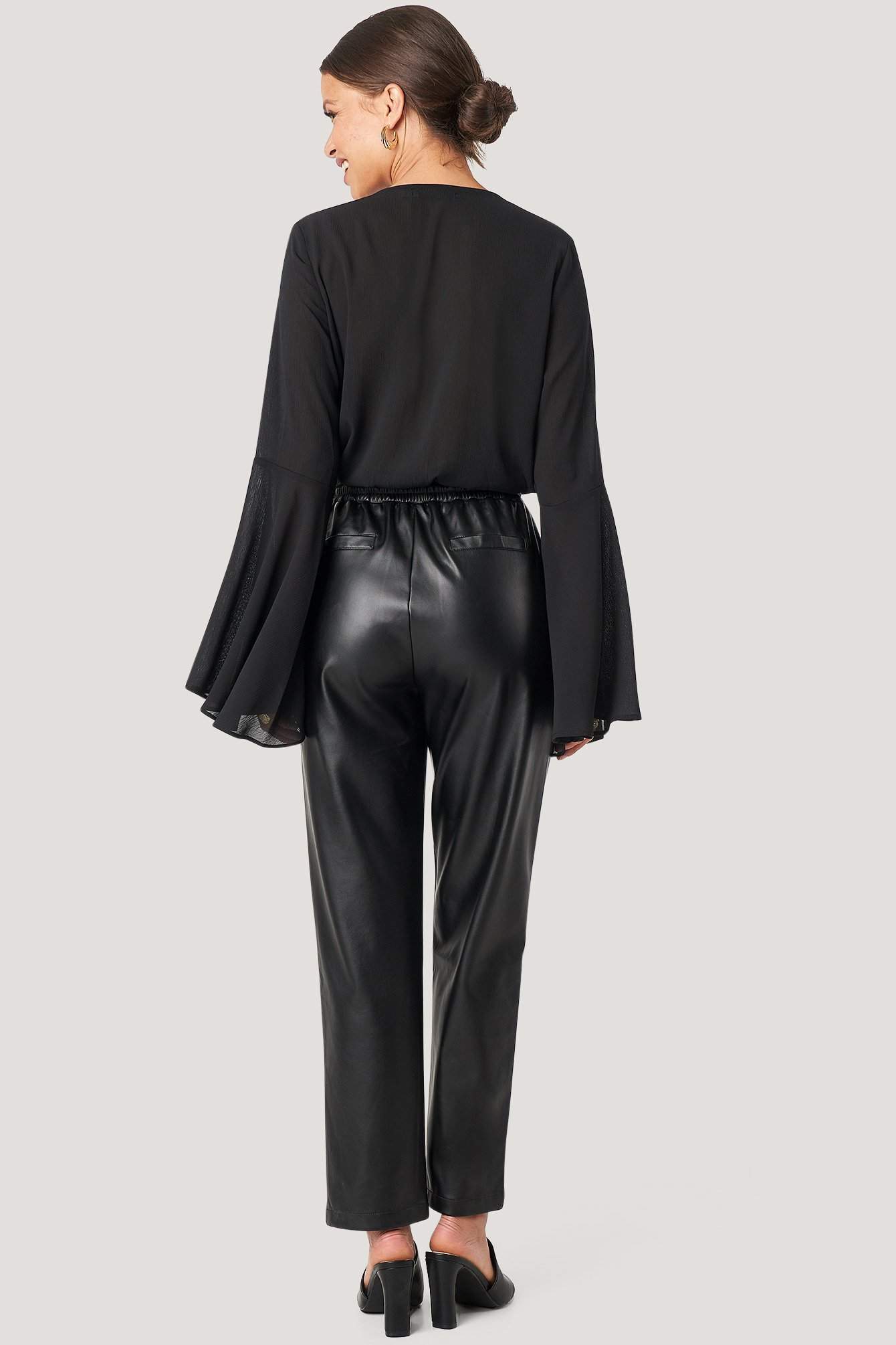 Black Drawstring Pu Pants