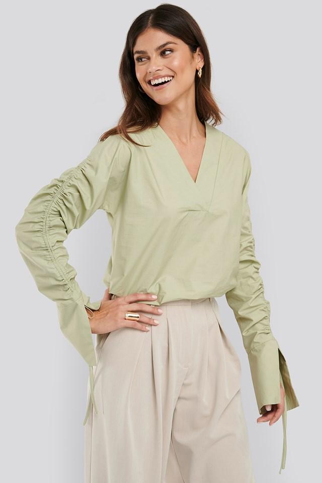 Drawstring Shirt Dusty Light Green