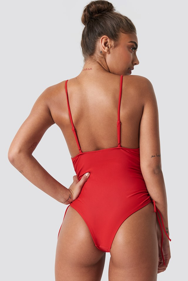 Drawstring Side Swimsuit Red