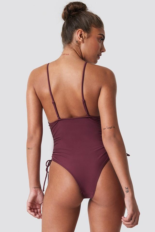 Drawstring Side Swimsuit Deep Plum