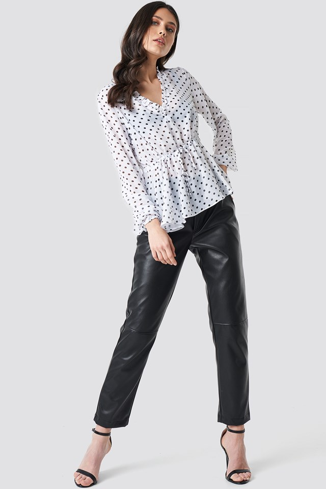 Drawstring Waist Chiffon Blouse White/Black Dot