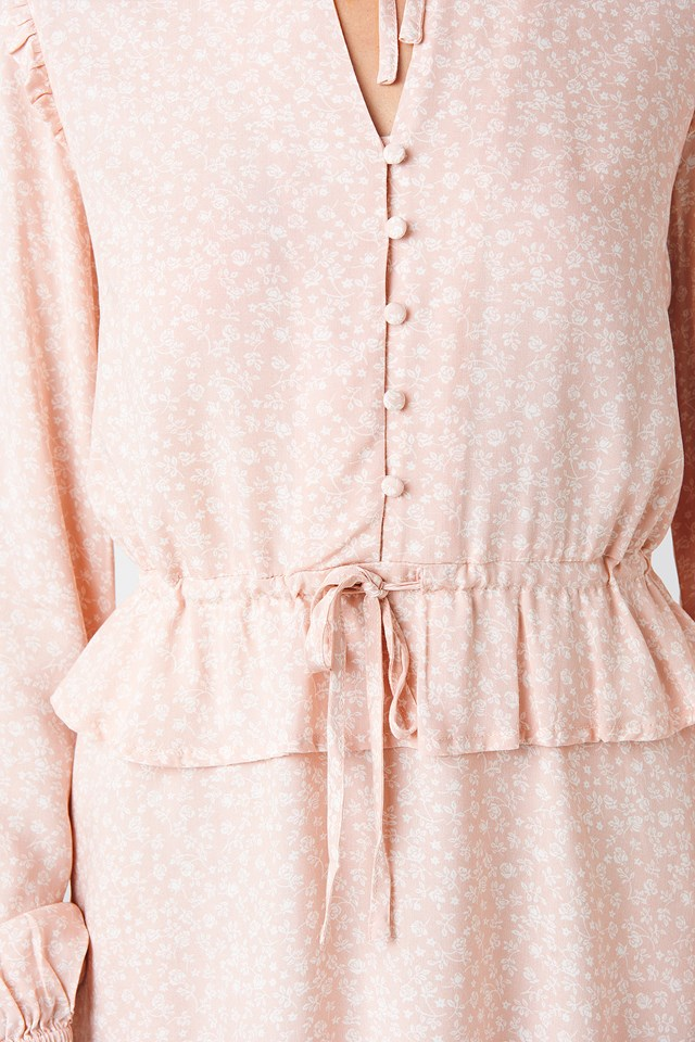 Drawstring Waist LS Mini Dress Pink Flower