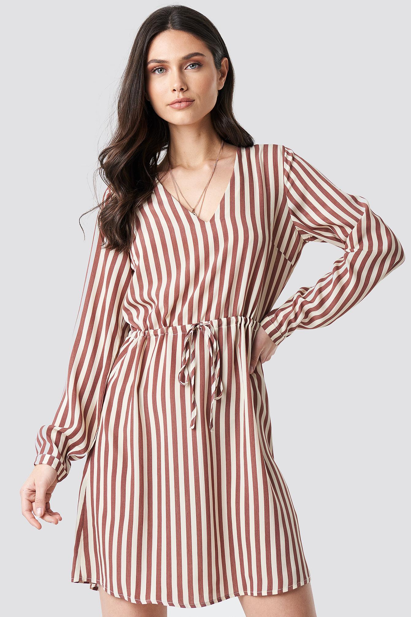 6d59b8fae34 Drawstring Waist Striped Dress Dark Pink