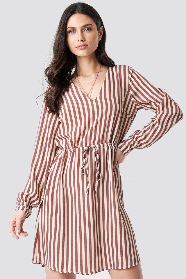 Drawstring Waist Striped Dress Dark Pink