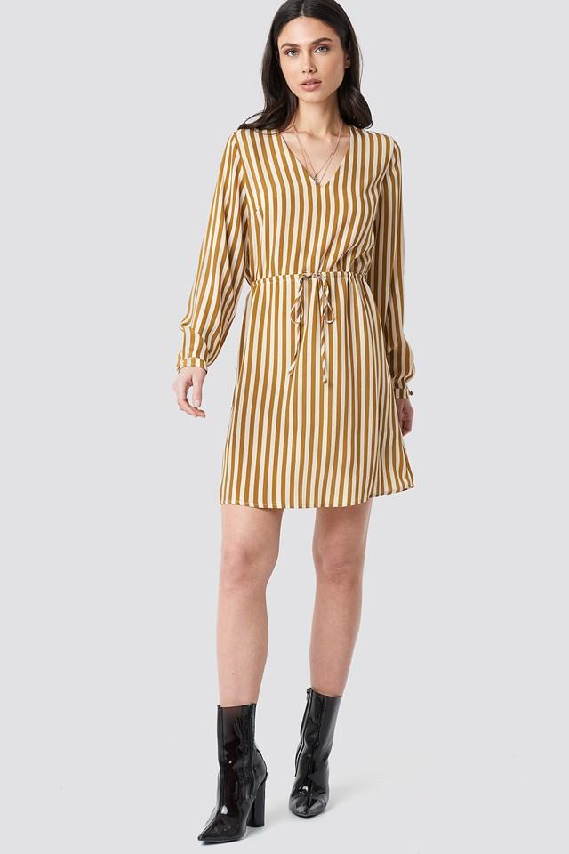 Drawstring Waist Striped Dress Mustard Yellow