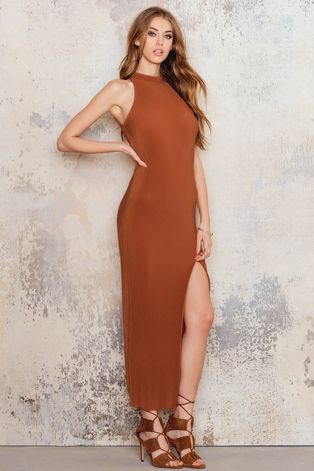 Pleated Dress With High Split Terracotta
