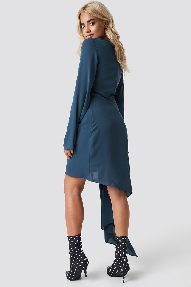 Draping Detail Asymmetric Dress Petrol