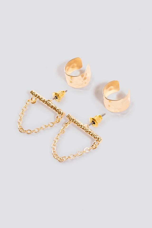 Drop Chain Cuff Set Gold