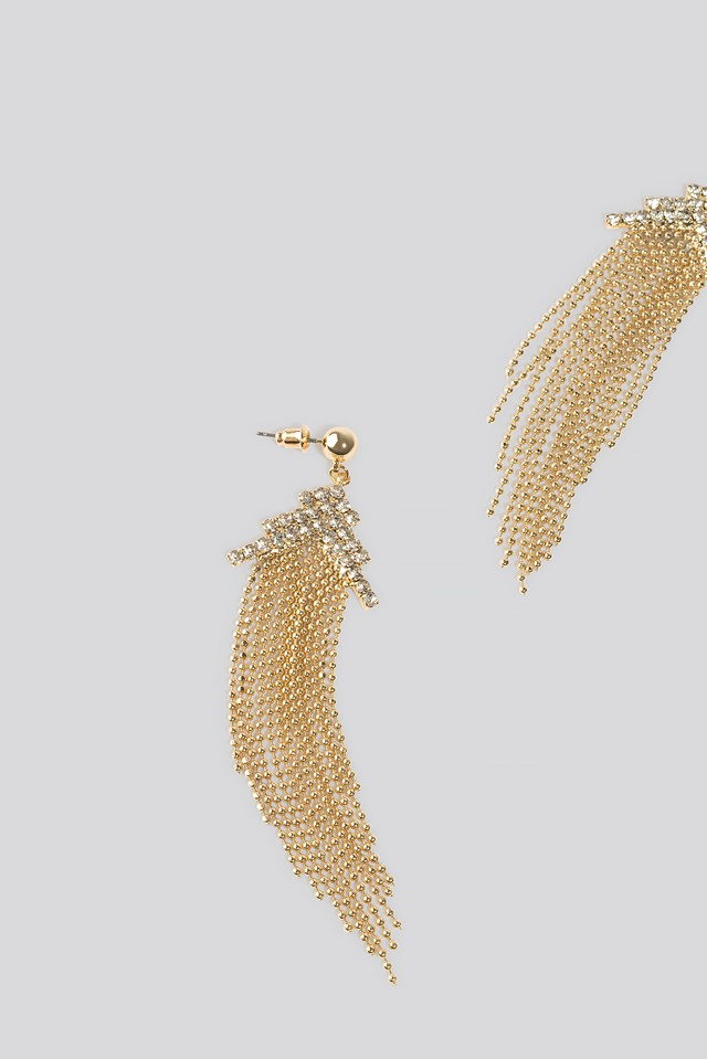 Drop Chain Top Rhinestone Earrings Gold