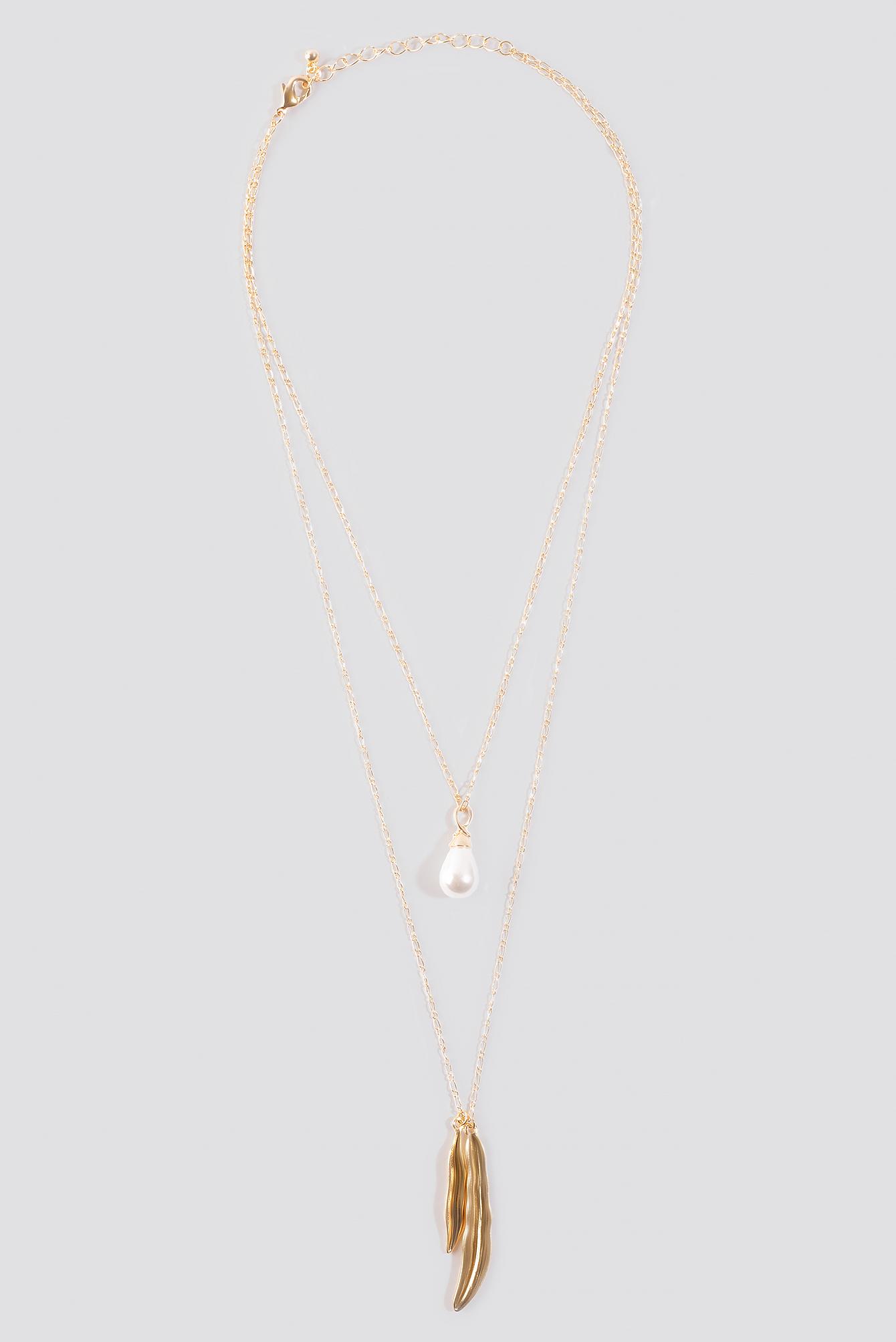 Drop Pearl Leaf Necklace NA-KD.COM