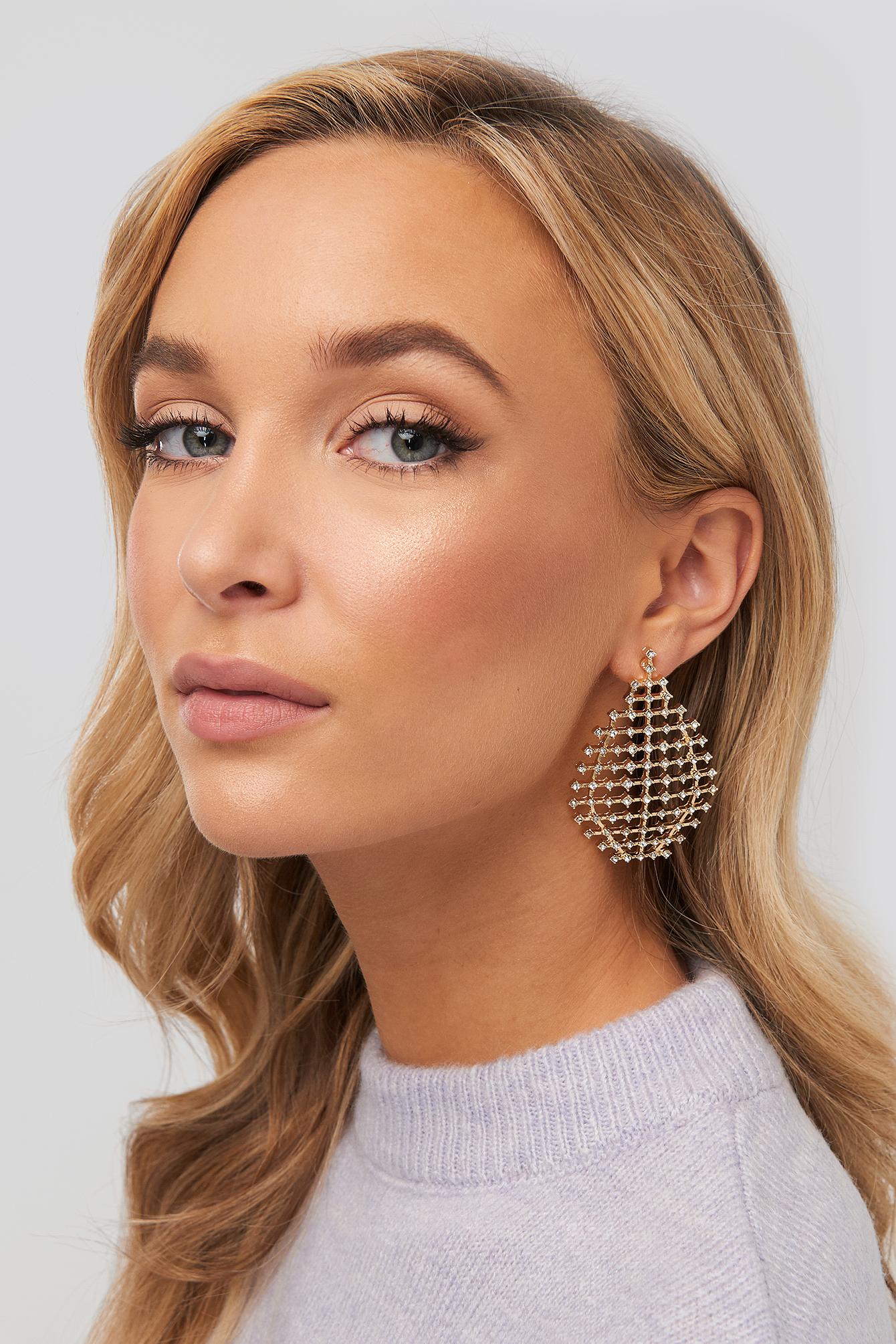 na-kd accessories -  Drop Rhinestone Net Earrings - Gold