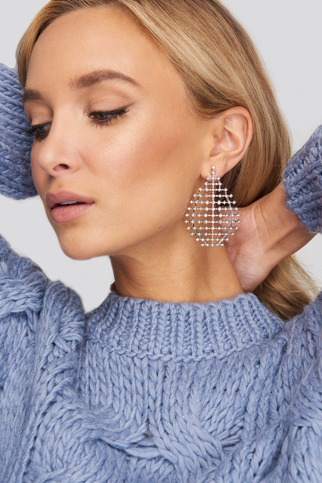 Drop Rhinestone Net Earrings NA-KD Accessories