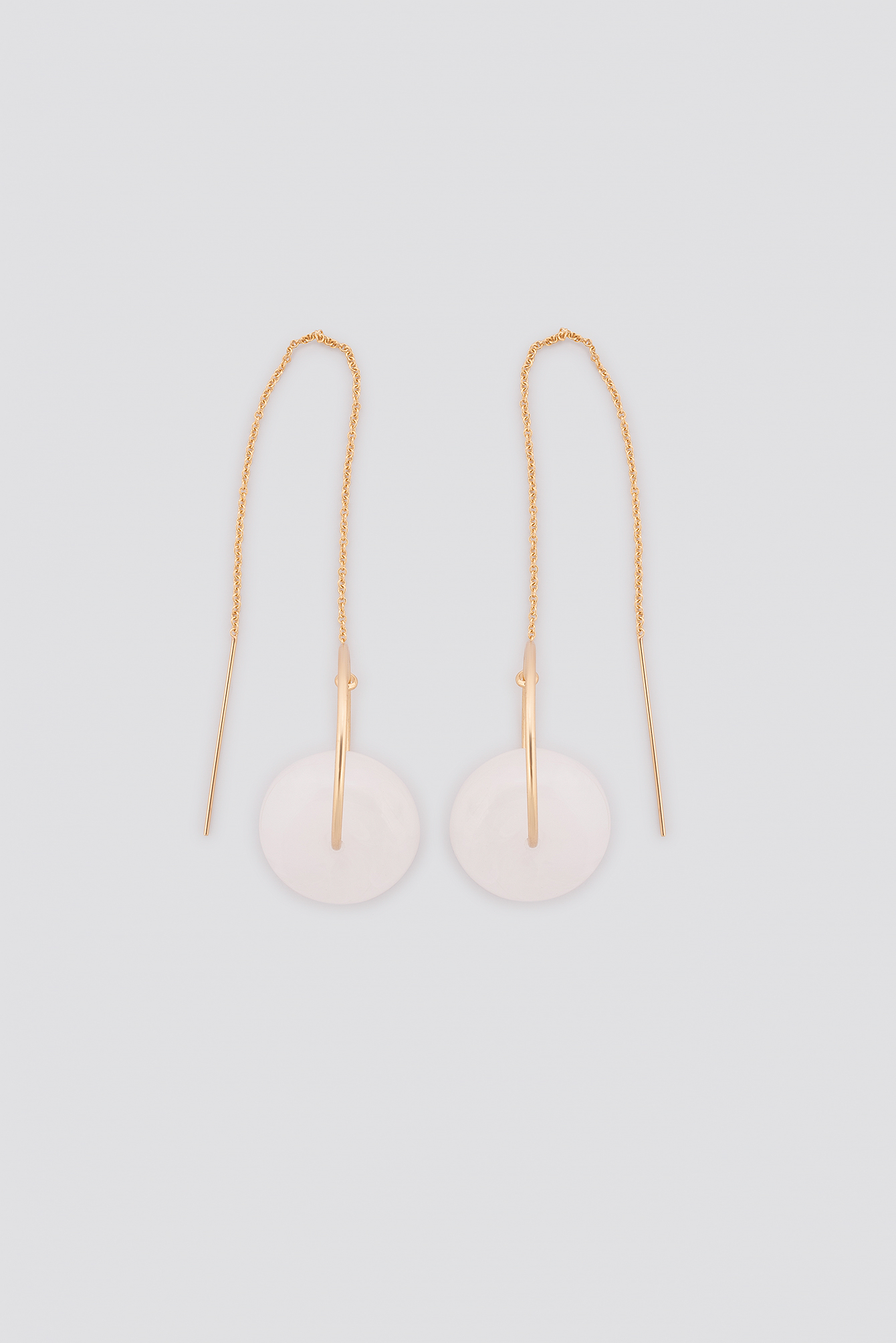 Gold Drop String Stone Earrings