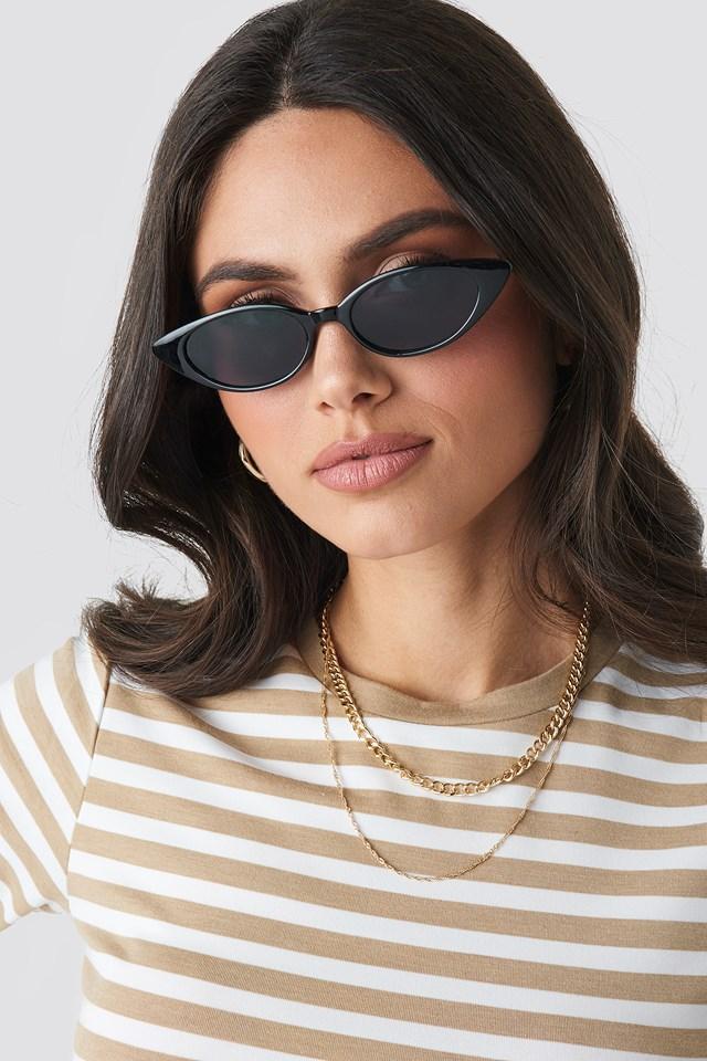 Drop Shape Cat Eye Sunglasses Black/Gold